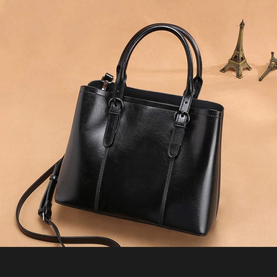 GSAYDNEE Damen Satchel Top Griff Tote aus echtem Leder Handtasche Schultertasche (Color : Brown) Black