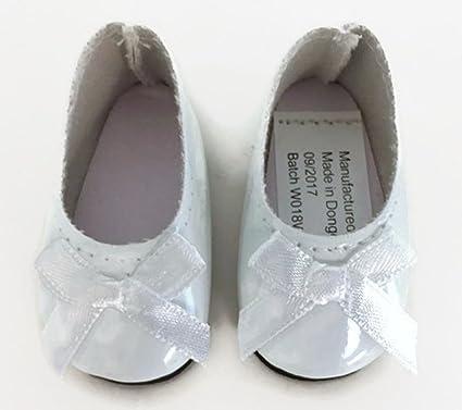 e7b98475dd3a6 Amazon.com: Dori's Doll Boutique White Shiny Dress Shoes with Bow ...