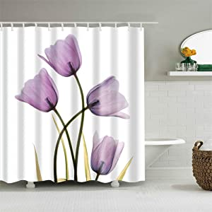 Shower Curtain Set with Hooks Transparent Purple Tulips Mauve Flowers Violet Florals Plant Bathroom Decor Waterproof Polyester Fabric Bathroom Accessories Bath Curtain 72 x 72 inches