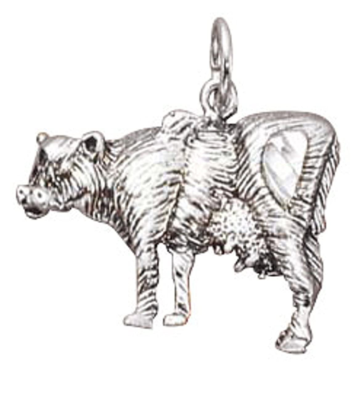 Sterling Silver Womens 1mm Box Chain Cow Pendant Necklace