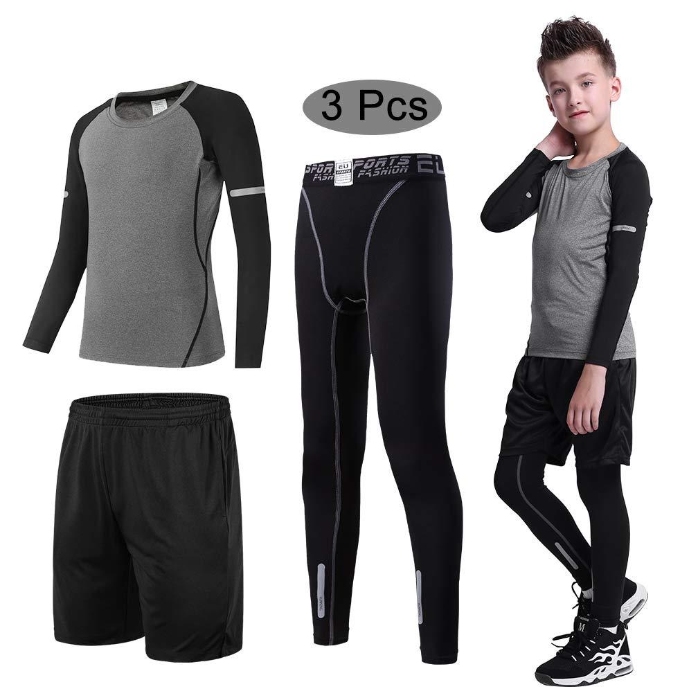 Tesuwel 2/3/4 Pcs Boys Girls Base Layer Athletic Compression Leggings and Shirts Thermal Underwear Set Running Pants Tights by Tesuwel