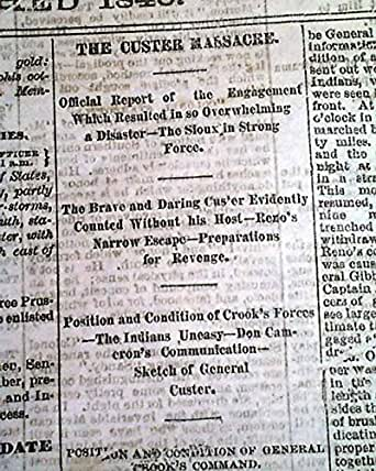 CUSTER'S MASSACRE Last Stand Battle of Little Bighorn INDIANS 1876 Old Newspaper THE MEMPHIS DAILY APPEAL, Tennessee, July 9, 1876