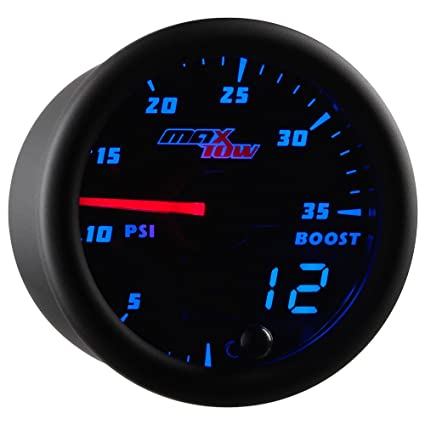 MaxTow Double Vision 35 PSI Turbo Boost Gauge Kit - Includes Electronic Pressure Sensor - Black