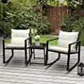 PAMAPIC Outdoor 3-Piece Rocking Bistro Set, Black Wicker Patio Rocking Chairs-Two Chairs with Seat and Back Cushions (Beige) & Sophisticated Glass Coffee Table