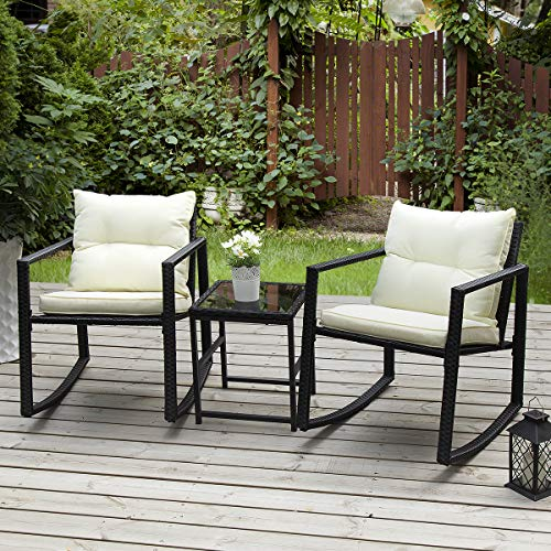 PAMAPIC Outdoor 3-Piece Rocking Bistro Set, Black Wicker Patio Rocking Chairs-Two Chairs with Seat and Back Cushions (Beige) & Sophisticated Glass Coffee Table (Small Outdoor Patio Apartment Ideas)