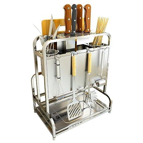 Estantes y soportes para ollas y sartenes HWF Organizador del Worktop del Estante del mostrador de
