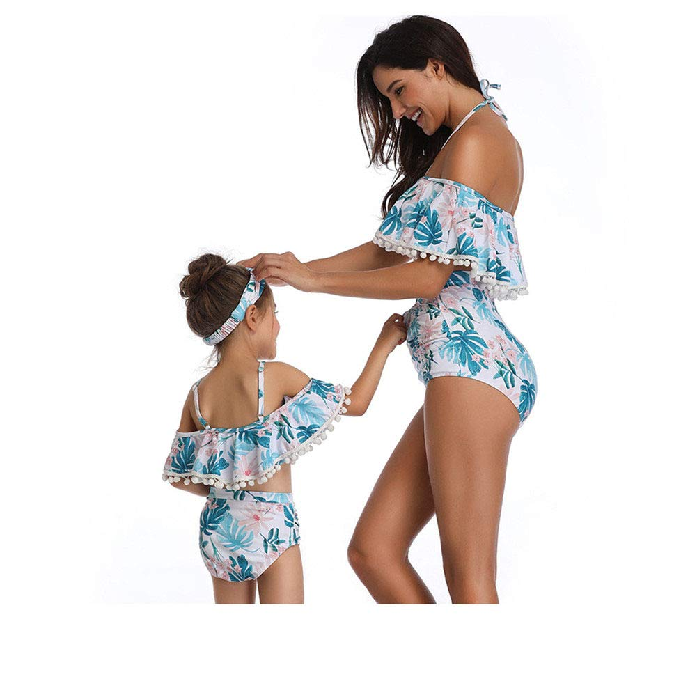 Parent-Child Swimsuit ZPPDL Mother and Daughter 2-Piece Set Bandeau Swimsuit