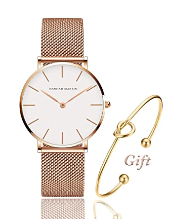 reputable site 57abb adf5d Women s Rose Gold Watch Analog Quartz Stainless Steel Mesh Band Casual  Fashion Ladies Wrist Watches with