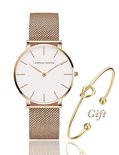 Reloj analógico de Cuarzo para Mujer de Oro Rosa, Correa de Malla de Acero Inoxidable