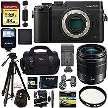 Panasonic LUMIX GX8 Mirrorless Micro Four Thirds Camera (Black), G Vario 12-60mm f/3.5-5.6 ASPH. POWER O.I.S. Lens, Transcend 64 GB Card, Polaroid Tripod, Polaroid Battery, Charger + Accessory Bundle