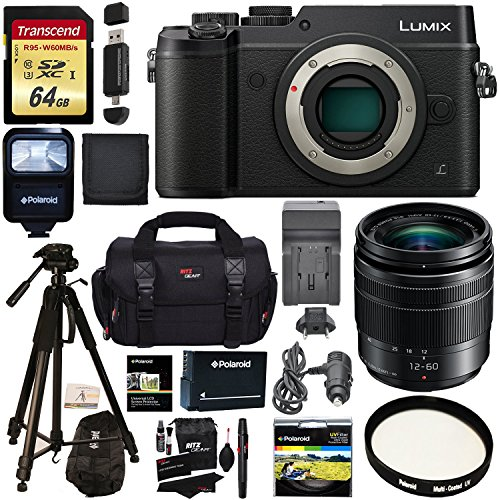 Panasonic LUMIX GX8 Mirrorless Micro Four Thirds Camera (Black), G Vario 12-60mm f/3.5-5.6 ASPH. POWER O.I.S. Lens, Transcend 64 GB Card, Polaroid Tripod, Polaroid Battery, Charger + Accessory Bundle