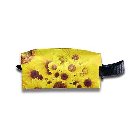 34125aaed7ab Amazon.com: ManSanTuBaZhu Cool Yellow Sunflowers Travel Makeup Bag ...