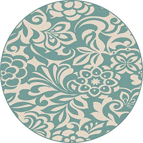 Universal Rugs Tahari Transitional Floral Aqua Round Area...