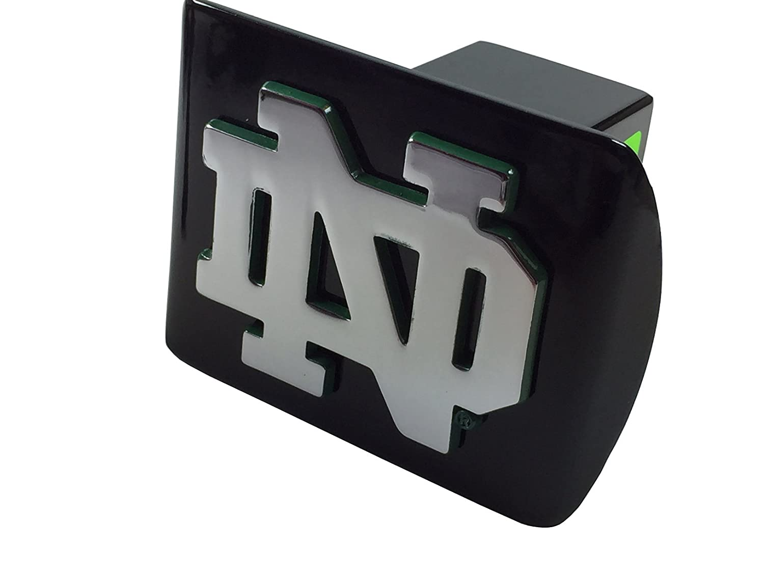 Notre Dame METAL ND emblem on black METAL Hitch Cover AMG chrome with green trim