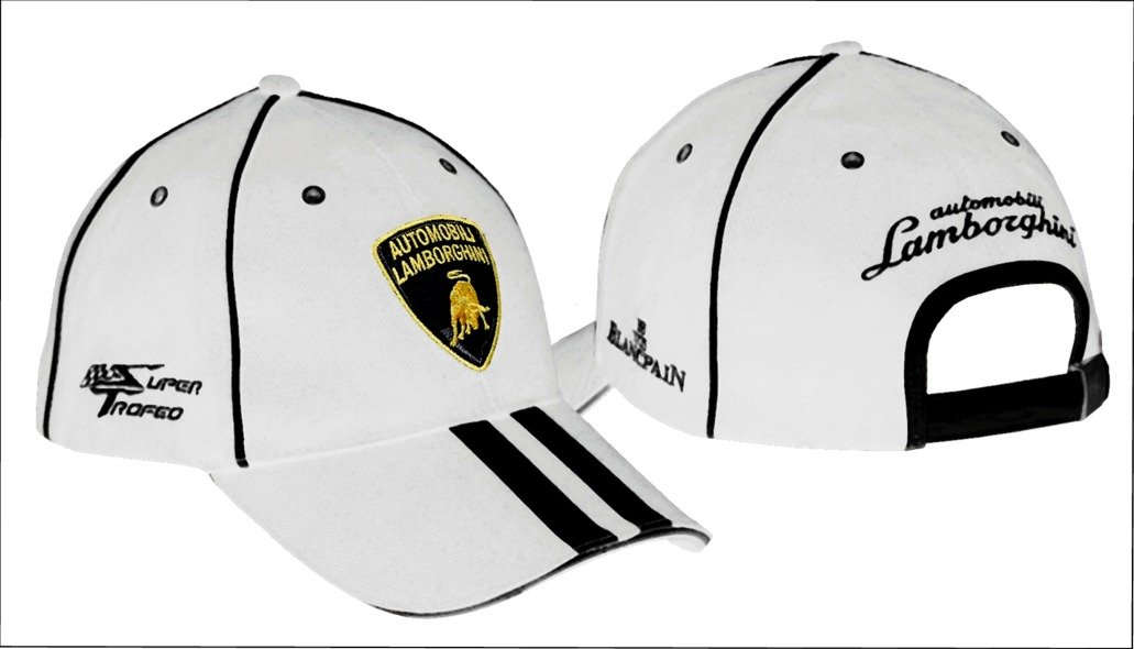 6cd63968067 Lamborghini Automobili Super Trofeo Sportscar Blancpain Racing White Cap   Amazon.co.uk  Sports   Outdoors