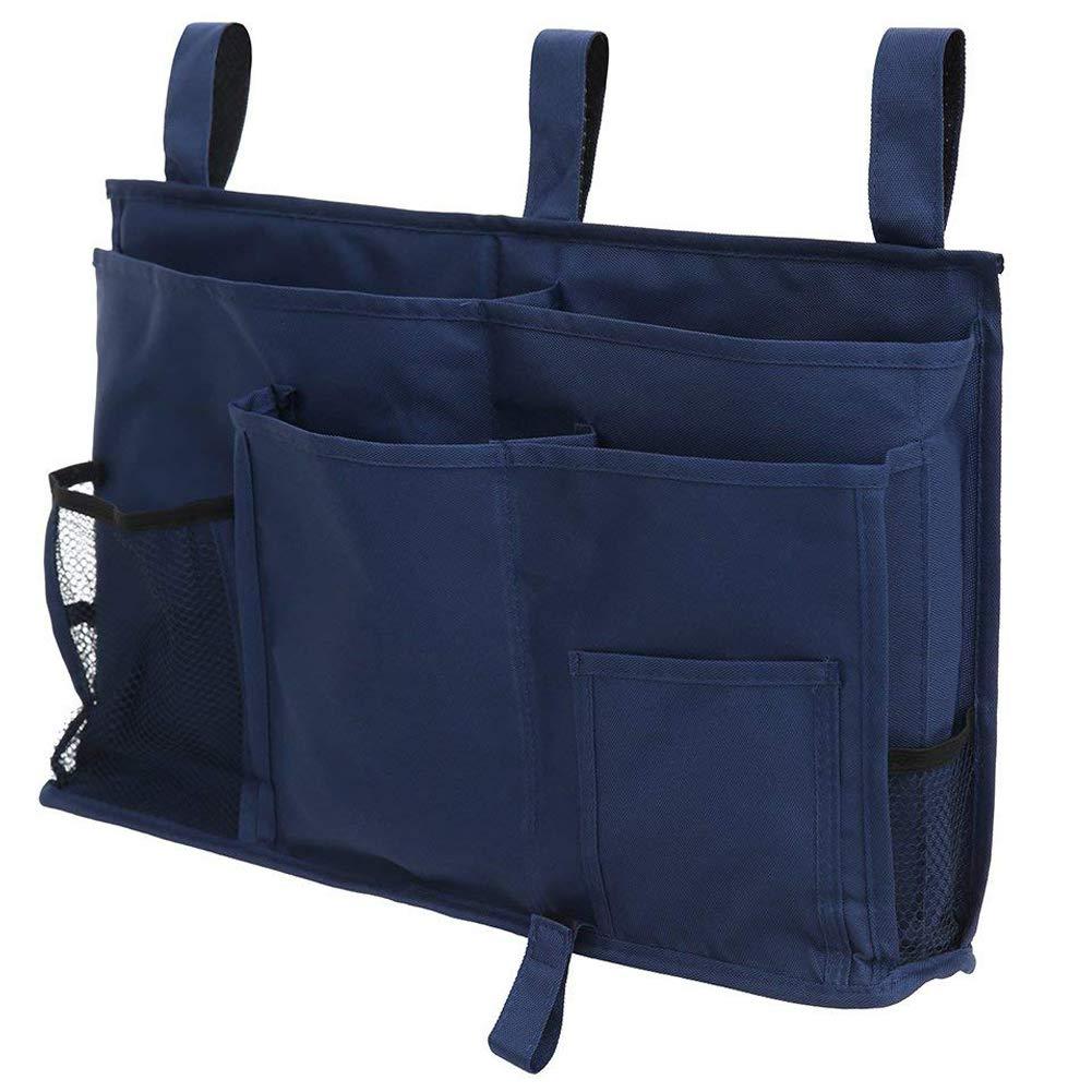 BETTERLE Bedside Storage Bag Caddy Hanging Organizer, Multipurpose Bed Hanging Pocket Organiser Holder Container Storage Bags for Headboards, Bed Rails, Dorm Rooms, Bunk Beds, Hospital Beds (Black)