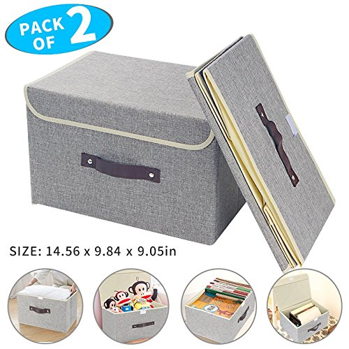 Large Storage Bins, OUENUAH Foldable Fabric Storage Box with Lid and Removable Divider Drawer Organizer for Shelving Toys, Beddings, Clothes, Set of 2, Extra Sachet Presented(Light (Large Foldable Box)