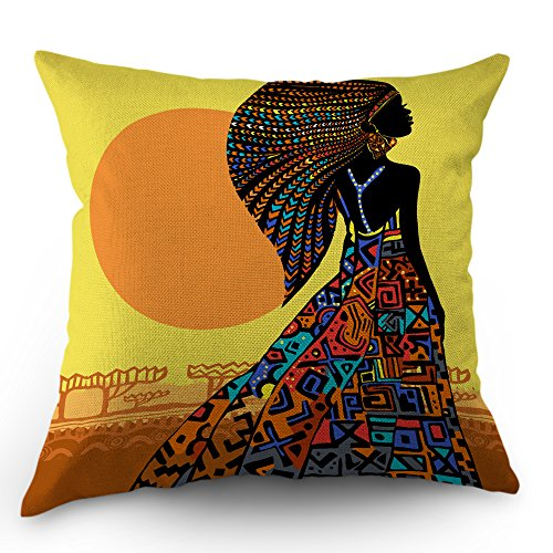 - Moslion African Pillow Cover African Woman in a Bohemian Dress Ethnic Throw Pillow Case 18x18 inch Cotton Linen Square Cushion Decorative Cover Sofa Bed Yellow Black