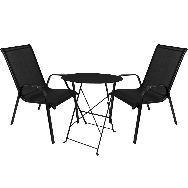 3tlg. Bistrogarnitur Klapptisch Ø60cm + 2x stapelbare Gartenstuhl Stapelstuhl Stahlgestell pulverbeschichtet mit Textilenbespannung Gartengarnitur Sitzgruppe Sitzgarnitur