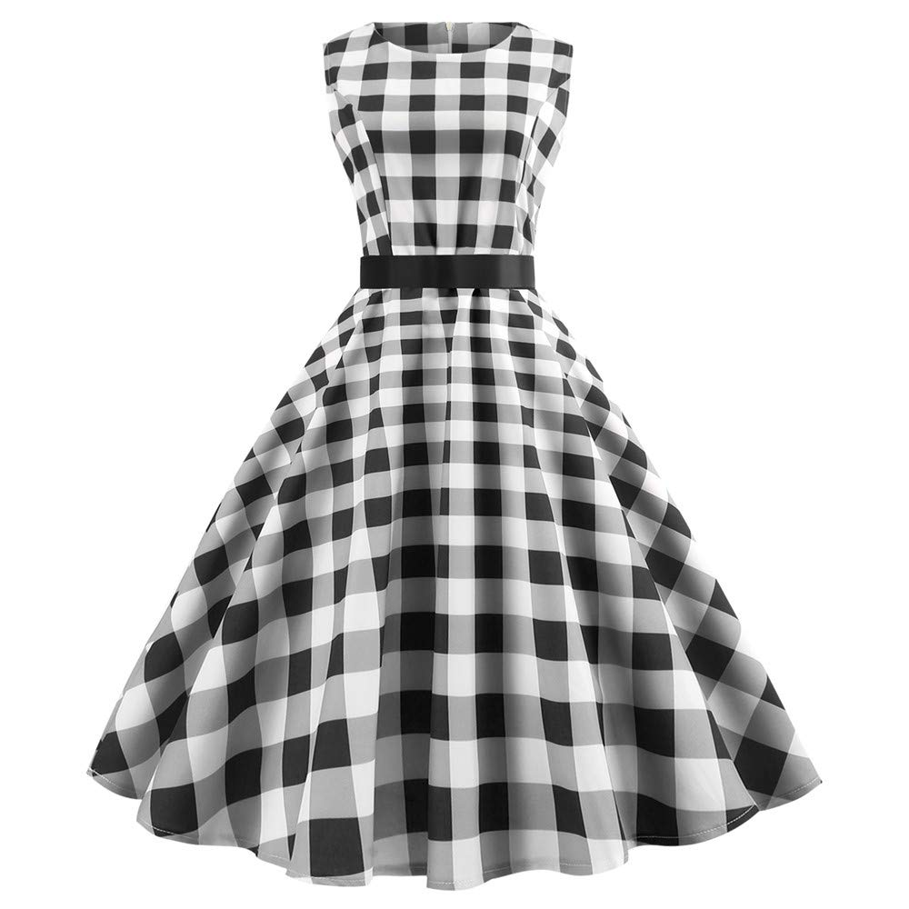 d914def1805e Lightning Deals Evening Party Dress, ZYooh Women Retro Plaid Straped  Sleeveless Prom Swing Dresses at Amazon Women's Clothing store: