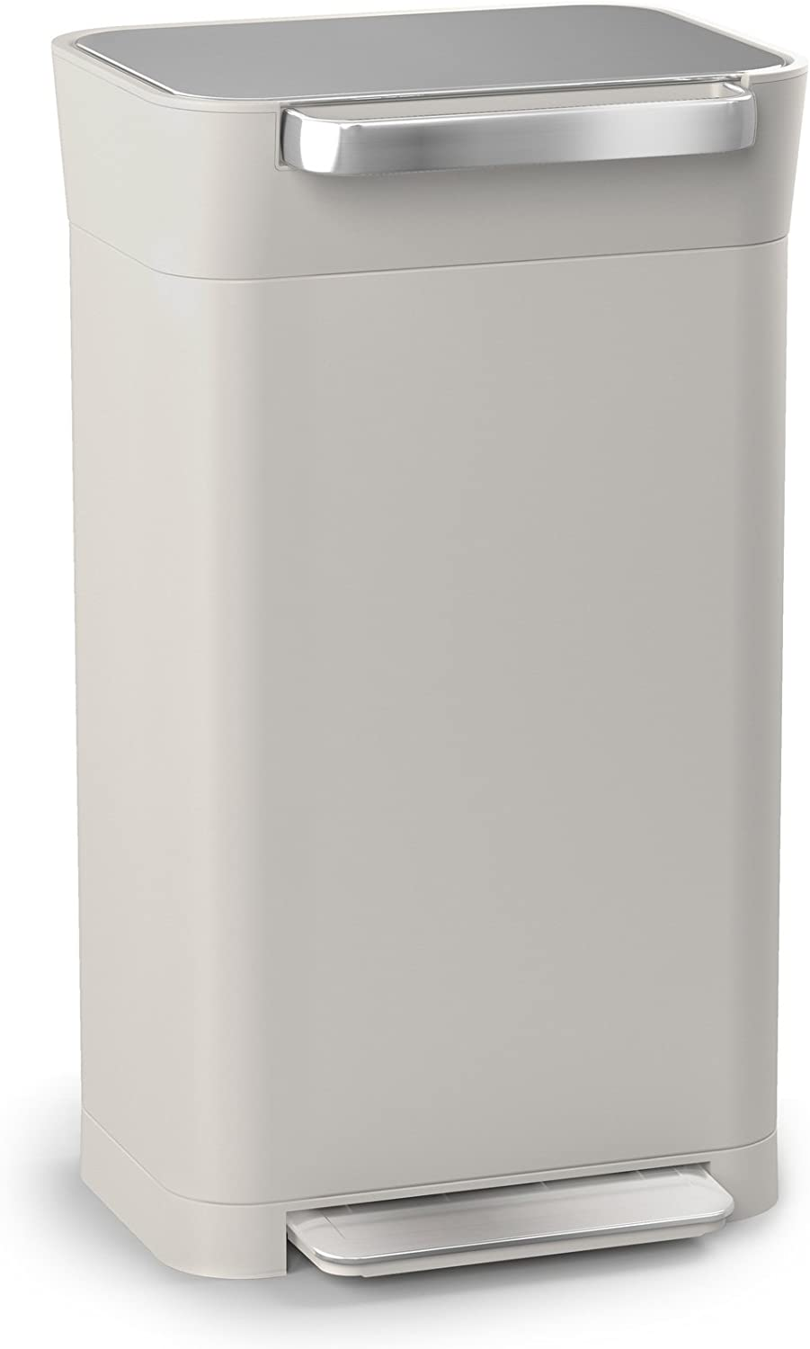 Joseph Joseph 30036 Intelligent Waste Titan Trash Can Compactor, 8 gallon/30 liter, Stone