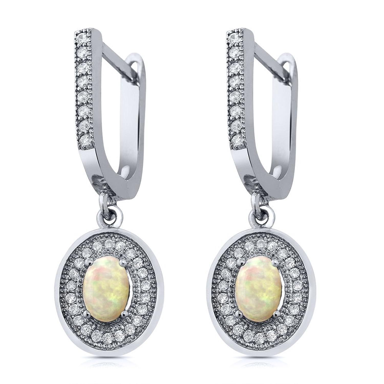 1.24 Ct Oval Cabochon White Ethiopian Opal 925 Sterling Silver Earrings