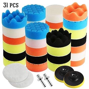 Digyssal 31PCS Polishing Pads Sponge Kit Woolen Polishing Waxing Buffing Pads Kit with 2pcs M10 Drill Adapter and 27pcs Polishing Pads Grinding & Polishing Material Sets