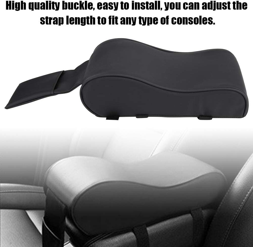 KIMISS Universal Leather Car Armrest Pad Memory Foam Auto Cushion Mat Covers with Cell Phone Pocket