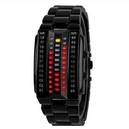 Skmei 1013 Hombres Relojes LED reloj de pulsera 30 m resistente al agua, Negro