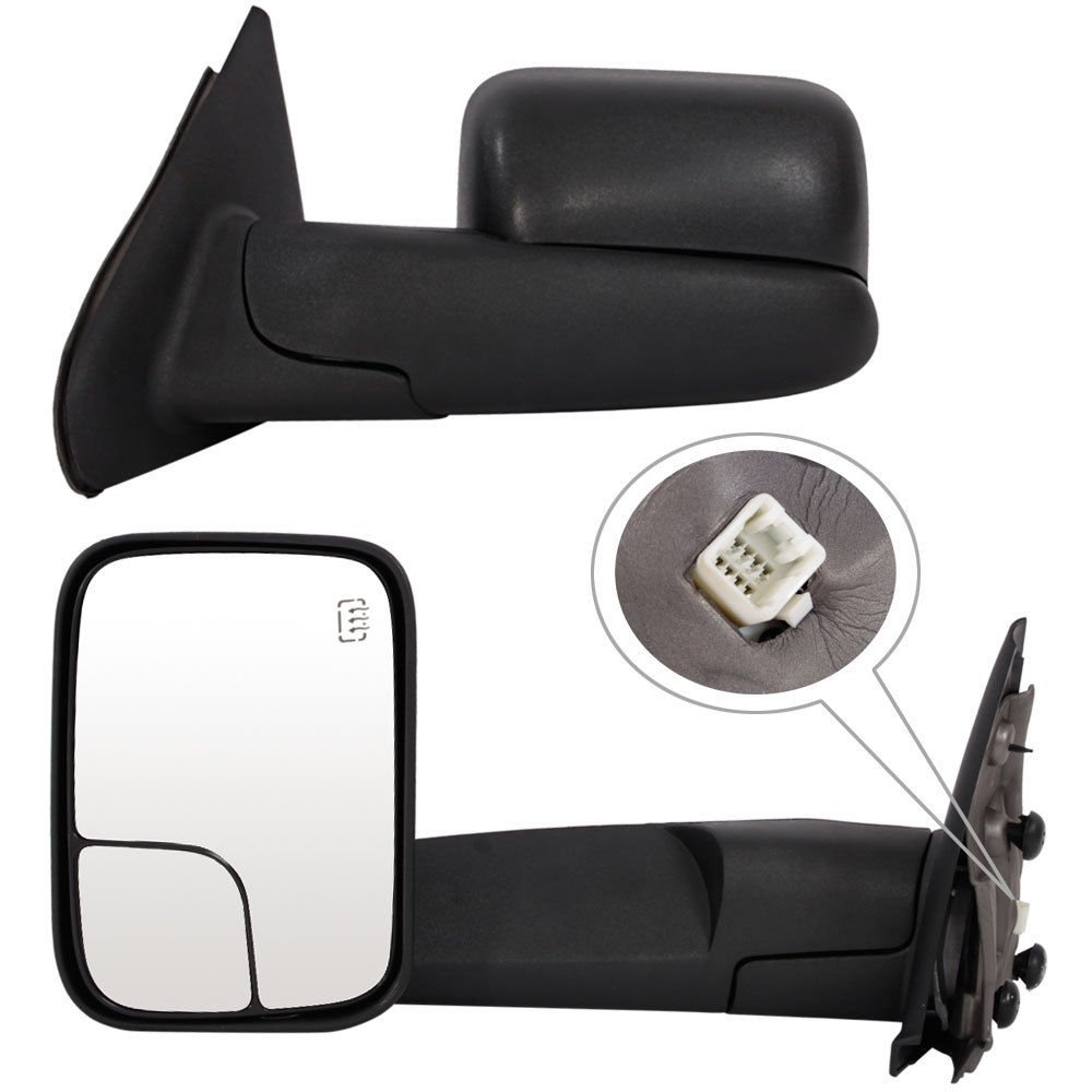 Roadstar Towing Mirrors for 02-08 Dodge Ram 1500 03-09 Dodge Ram 2500 3500 Pickup Truck Power Heated Tow Extend Flip Up Power Heated Folding Side View Black Mirror Pair Set