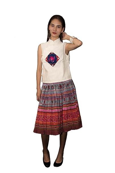 Interact China Falda Plisada Bordada Tribal Hmong Vestido Vintage Algodón 100% Artesanía #112