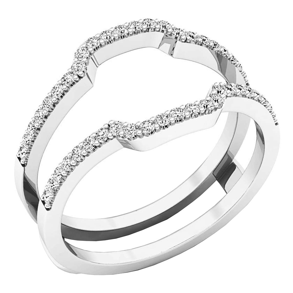 Round White Cubic Zirconia CZ Ladies Wedding Band Enhancer Guard Double Ring, Sterling Silver, Size 7.5 by Dazzlingrock Collection