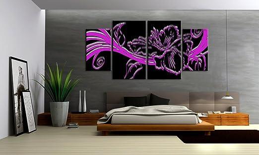 Top imagen sobre lienzo FLOWER Style 4 imágenes Número de Referencia m40543 Lila Moderno Abstracto imágenes enmarcado sobre auténtico bastidor. Enmarcado como imagen sobre Marco. Menos Que Pintura al óleo Póster Cartel