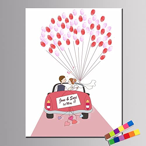 Amazon.com: Wedding Car Guest Book, Wedding Fingerprint Tree, Custom ...