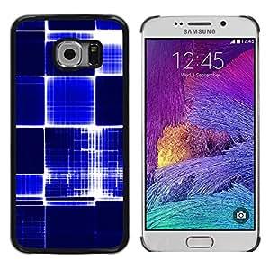 Be Good Phone Accessory // Dura Cáscara cubierta Protectora Caso Carcasa Funda de Protección para Samsung Galaxy S6 EDGE SM-G925 // Pattern Checkered Blue White Bright Bling