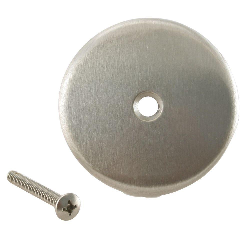 """Westbrass 3-1/8"""" Single Hole Overflow Face Plate and Screw, Satin Nickel, D328-07"""
