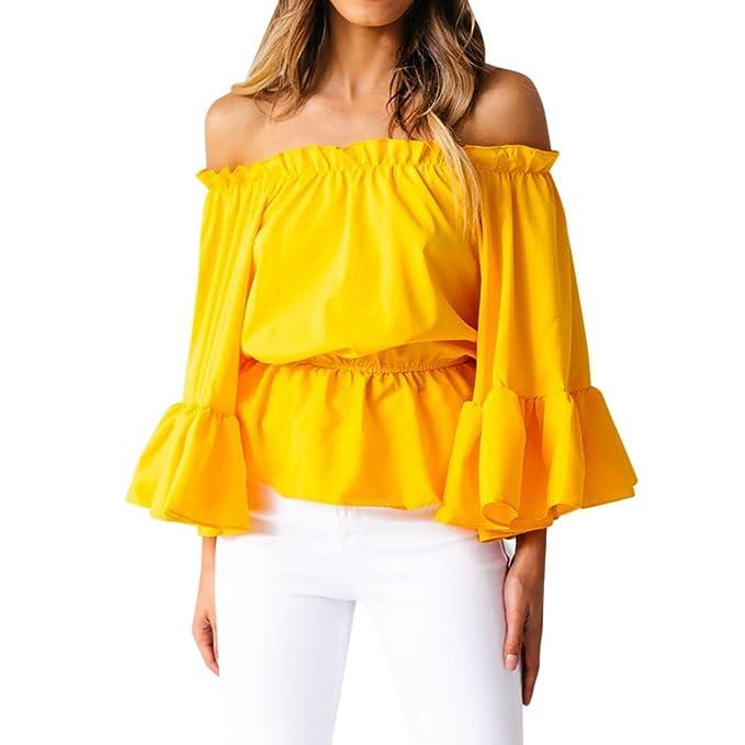 1005507321d Oksale Women's Off Shoulder Bell Sleeve Elastic Waist Tops Shirt Blouse  Small Yellow