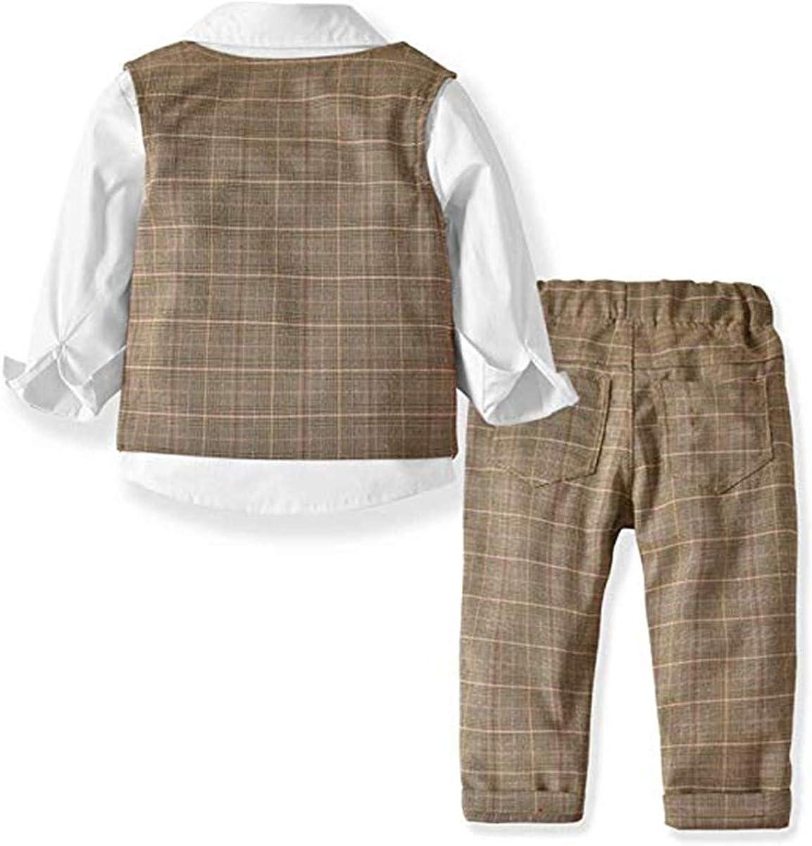 JELEUON Little Toddler Boys 4Pcs Gentleman Formal Suit Four Pieces Bow Tie Long Sleeve Plaid Shirts Vest Pants Outfit Suit