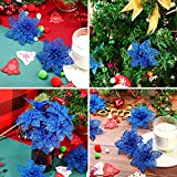 SATINIOR 50 Pieces Christmas Tree Flowers Glitter