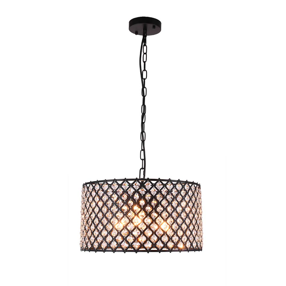 Lingkai Crystal Chandelier Pendant Light Fixture 3-Light Hanging Pendant Ceiling Lamp Caged Metal Drum Shade Black Finish