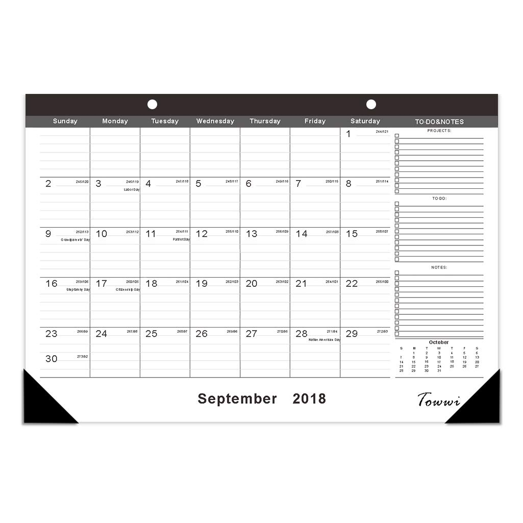 "TOWWI 2018-2020 Year Monthly Desk Pad Calendar, 16.8"" x 11.7"" Desktop Wall Calendar for Daily Schedule Planner, September- February Towwi_003"
