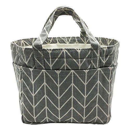 (Insulated Lunch Bag Reusable Sling Shoulder Lunch Tote Travel Picnic Drawstring Bento Cooler Bag, Front Pocket and 2 Side Pockets (Grey Arrows))