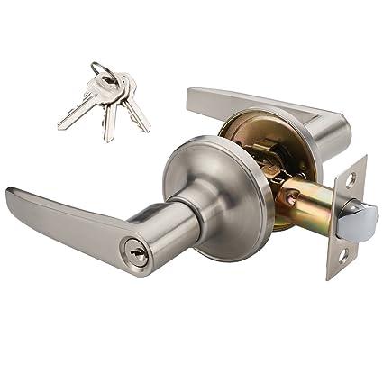 Manren Lever Keyed Entry Door Lever Handle Lock Universal Door Knob