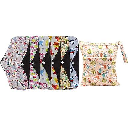 SUPVOX Compresas Almohadillas Menstruales Reutilizables Toallas Sanitarias de Bambú Lavable reutilizables con Bolsa Húmeda Color Aleatorio