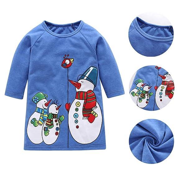 ZODOF Muñeco de Nieve Print Girl Autumn Dress Niño pequeño niños niñas Navidad Navidad muñeco de
