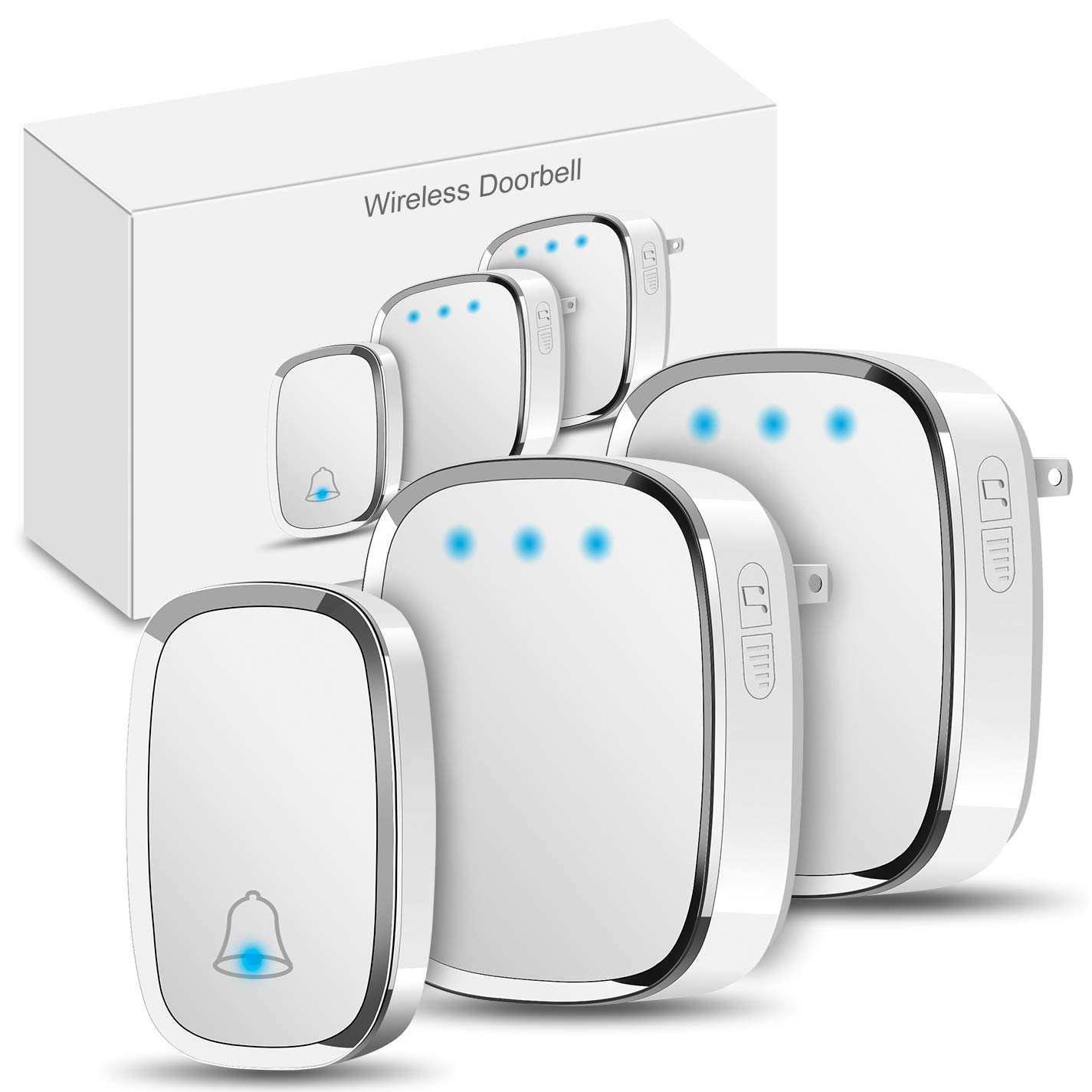 Wireless Doorbell Govee Waterproof Door Bells Chime Kit with LED Flash 1 Push Button and 2 Plug in Receiver 1000 Feet Operating Range 4 Levels Volume 36 Melodies to Choose White