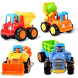 Early Education 1 Year Olds Baby Toy Push and Go Friction Powered Car Toys Sets of 4 Tractor, Bulldozer, Mixer Truck and Dumper for Children & Kids Boys and Girls by EastSun