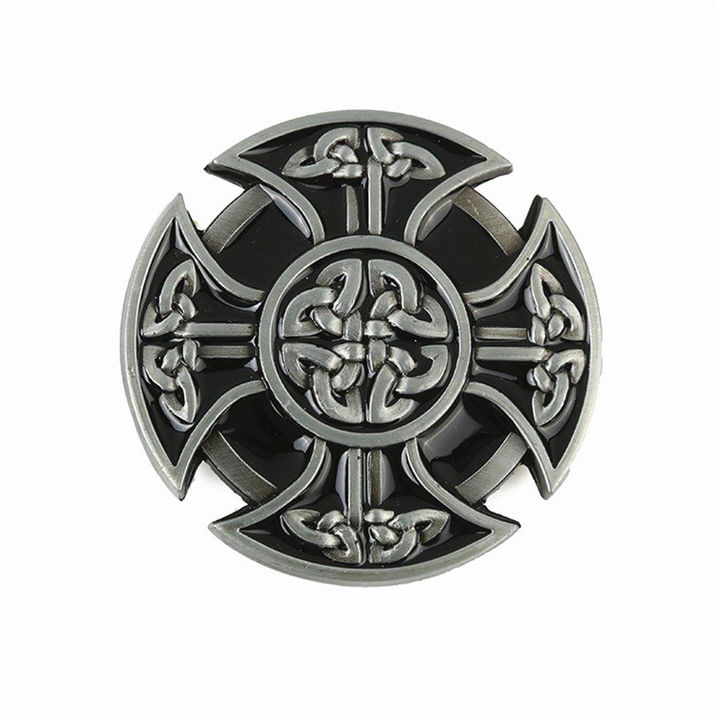 Balabalam Vintage Style Round Celtic Cross Knot Belt Buckles Silver Black Metal Belt Buckles for Men BKL118