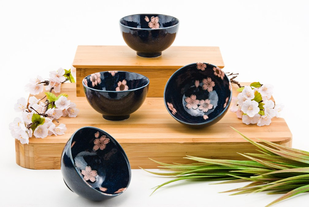 Japanese Traditional Ceramic Rice Bowl Set of 4 Pink Cherry Blossom Sakura Gift Pack Imported From Japan FMC