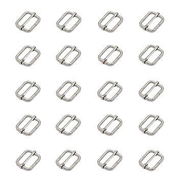 Leen4You - Cinturón deslizante ajustable de 25 mm, hebilla para hacer bolso, mochila, bolsa de equipaje, color plateado (paquete de 20): Amazon.es: Hogar